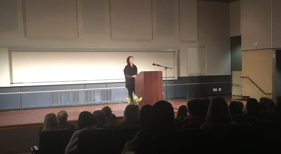 Alice Sebold talks about trauma at author event.